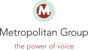 The Metropolitan Group logo, underneath is their tagline: The power of voice